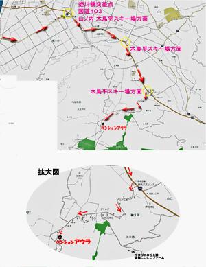 豊田飯山ICからのアクセス地図②、観光交流センターからのの詳細地図
